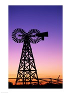 Silhouette of a windmill, American Wind Power Center, Lubbock, Texas, USA