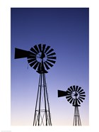 Silhouette of windmills, American Wind Power Center, Lubbock, Texas, USA