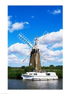 Low angle view of a traditional windmill, Thurne, Norfolk Broads, Norfolk, England