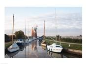Drainage windmill at the riverside, Horsey Windpump, Horsey, Norfolk, East Anglia, England