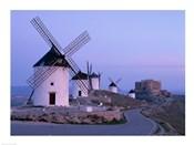 Windmills, La Mancha, Consuegra, Castilla-La Mancha, Spain In Blue Light