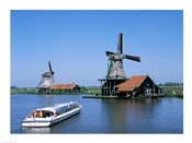 Windmills and Canal Tour Boat, Zaanse Schans, Netherlands