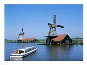 Windmills and Canal Tour Boat, Zaanse Schans, Netherlands