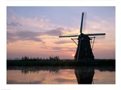 Silhouette, Windmills at Sunset, Kinderdijk, Netherlands