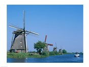 Windmills and Canal Tour Boat, Kinderdijk, Netherlands