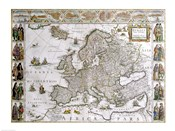Close-up of the map of Europe, Joan Bleau, 1630