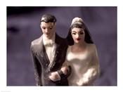 Close-up of a wedding cake figurine