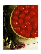 Close-up of a cherry covered cheesecake