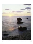 Rocks on the beach at sunrise