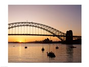 Sunrise over a bridge, Sydney Harbor Bridge, Sydney, Australia