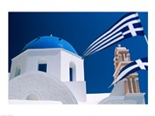 Santorini, Oia , Cyclades Islands, Greece With Flag