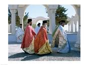 Greek Orthodox, Priests, Santorini, Thira (Fira), Cyclades Islands, Greece