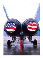 FA-18 Hornet engines covered with American flag, USA