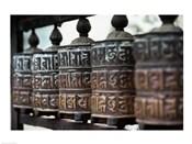 Close-up of prayer wheels, Kathmandu, Nepal