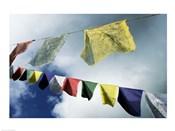 Low angle view of prayer flags, Kathmandu, Nepal
