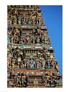 Carvings on a temple, Sri Meenakshi Hindu Temple, Chennai, Tamil Nadu, India