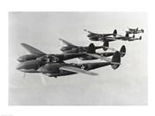 Four fighter planes in flight, P-38 Lightning