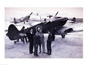Submarine Spitfire with crew, WW-II British Fighter