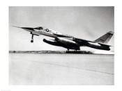Side profile of a bomber plane taking off, B-58 Hustler