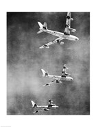 Low angle view of three fighter planes in flight, B-47 Stratojet
