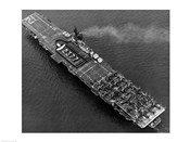 High angle view of an aircraft carrier in the sea, USS Boxer (CV-21), 1951