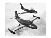 High angle view of two fighter planes in flight