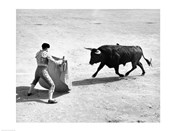 High angle view of a bullfighter with a bull in a bullring, Madrid, Spain