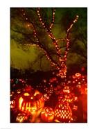Jack o' lanterns lit up at night, Roger Williams Park Zoo, Providence, Rhode Island, USA