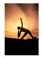 Silhouette of Yoga Pose Extended Triangle