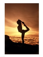 Silhouette of Yoga Pose at Sunset