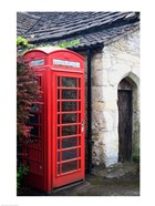 Telephone booth outside a house, Castle Combe, Cotswold, Wiltshire, England