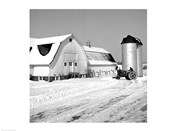 Farmer on Tractor Clearing Snow Away