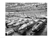 Incomplete Bomber Planes on the Final Assembly Line in an Airplane Factory, Wichita, Kansas, USA