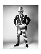 Senior man in an Uncle Sam Costume Standing with Arms Akimbo