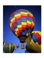 Brightly Colored Hot Air Balloon with Basket