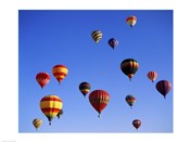 Large Group of Hot Air Balloons Flying