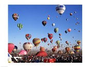 Low angle view of hot air balloons rising, Albuquerque International Balloon Fiesta, Albuquerque, New Mexico, USA