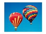 2 Rainbow Hot Air Balloons Floating Together