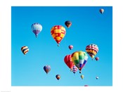 Group of Hot Air Balloons Floating Together in Albuquerque, New Mexico