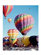 Low angle view of hot air balloons in the sky, Albuquerque International Balloon Fiesta, Albuquerque, New Mexico, USA