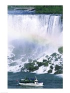 Boat in front of a waterfall, American Falls, Niagara Falls, New York, USA