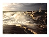 Waves crashing against rocks, Peggy's Cove Lighthouse, Peggy's Cove, Nova Scotia, Canada