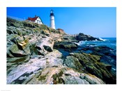Lighthouse at the coast, Portland Head Lighthouse, Cape Elizabeth, Maine, USA