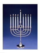 Close-up of a menorah with a Star of David