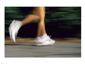 Low section view of a person running