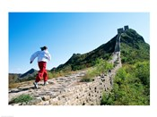 Person running up the Great Wall, Simatai, Beijing, China