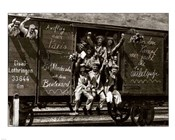 German Soldiers in a Railroad Car on the Way to the Front
