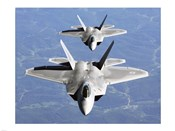 Two F-22A Raptor in Column Flight
