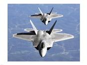 Two F-22A Raptor in Column Flight