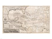 1732 Herman Moll Map of the West Indies, Florida, Mexico, and the Caribbean